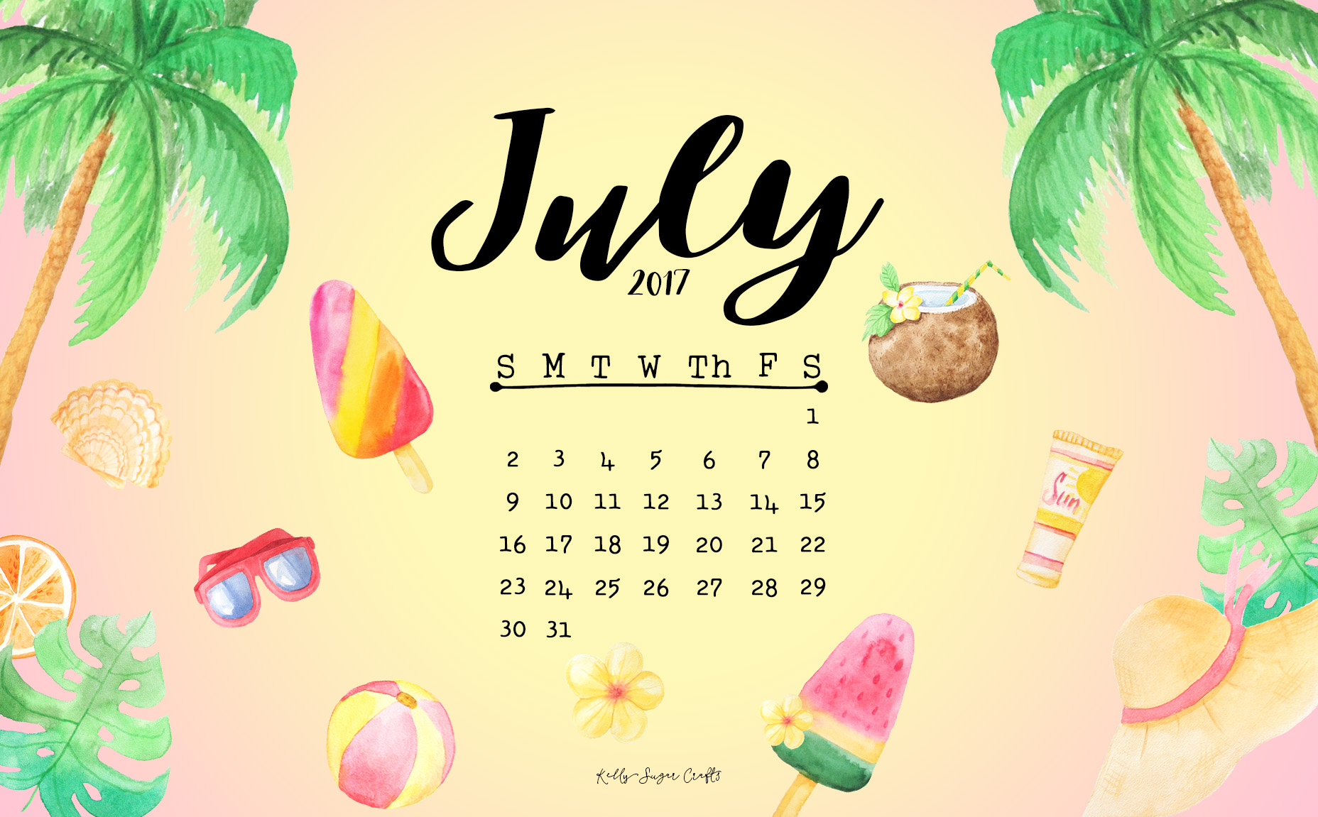 July 2017 Calendar + Wallpapers - Kelly Sugar Crafts